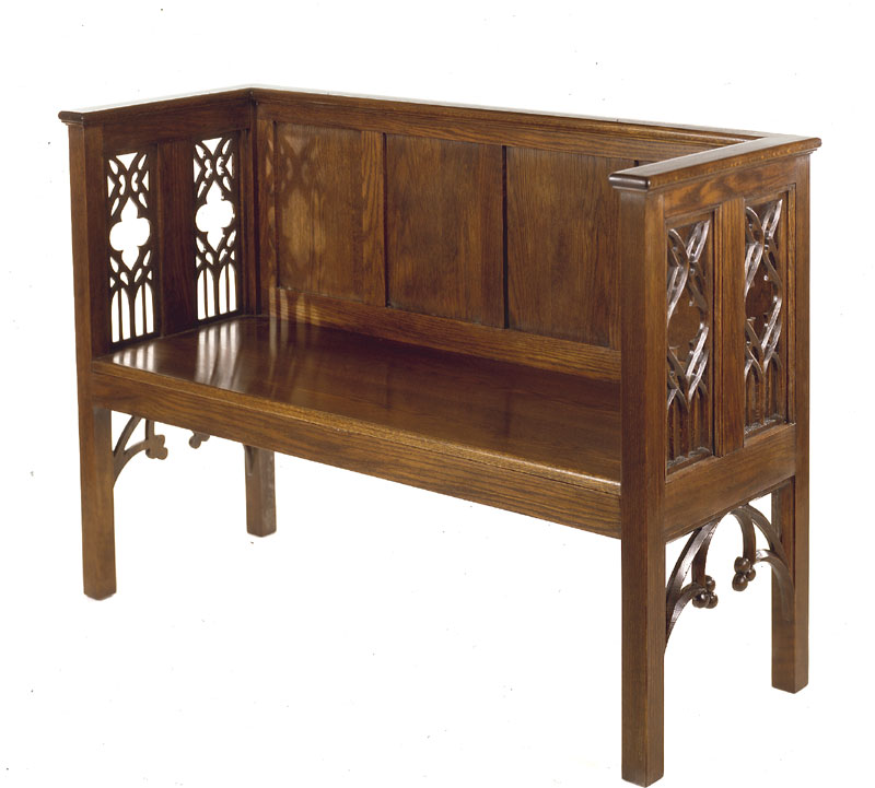 styled directly from two late 15th century french benches this piece